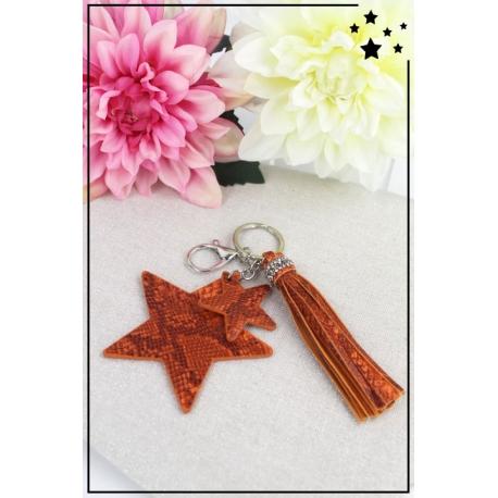 Porte-clé - Bijoux de sac - 2 étoiles - Pampille - Effet Python - Rouille