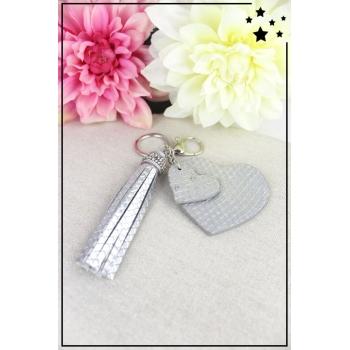 Porte-clé - Bijoux de sac - 2 coeurs - Pampille - Effet écailles - Argenté