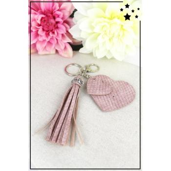 Porte-clé - Bijoux de sac - 2 coeurs - Pampille - Effet écailles - Rose