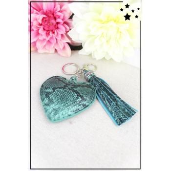 Porte-clé - Bijoux de sac - Coeur rembourrée - Pampille - Effet Python - Bleu