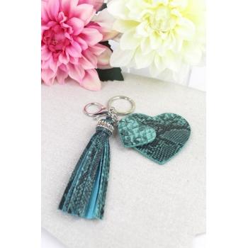 Porte-clé - Bijoux de sac - 2 coeurs - Pampille - Effet Python - Bleu