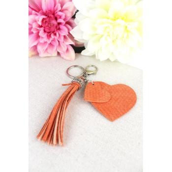 Porte-clé - Bijoux de sac - 2 coeurs - Pampille - Effet écailles - Rouille
