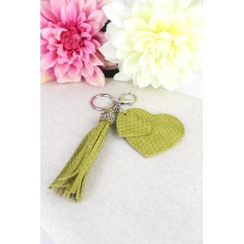 Porte-clé - Bijoux de sac - 2 coeurs - Pampille - Effet écailles - Vert