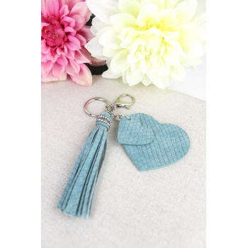 Porte-clé - Bijoux de sac - 2 coeurs - Pampille - Effet écailles - Bleu