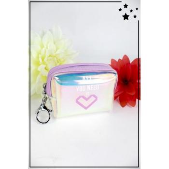Porte monnaie irisé avec message - All you need is love - Violet