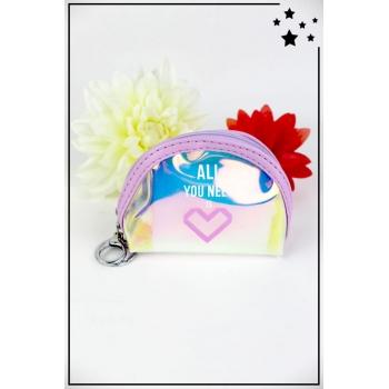 Porte monnaie irisé - Demi lune - All you need is love - Violet