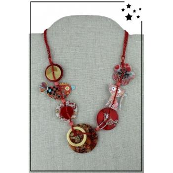 Collier - Chaînette - Forme ronde - Oiseau - Chat - Rouge