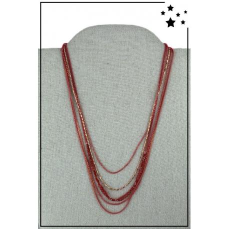 Collier multirangs - Petites perles - Chaînettes - Rouge