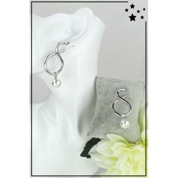 Boucles d'oreille - Courbée - Grandes perles - Argenté