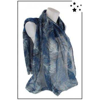 Foulard - Imprimé plumes - Bleu marine