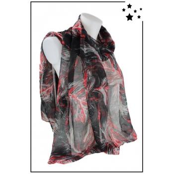 Foulard - Imprimé Fleurs - Noir / Rouge