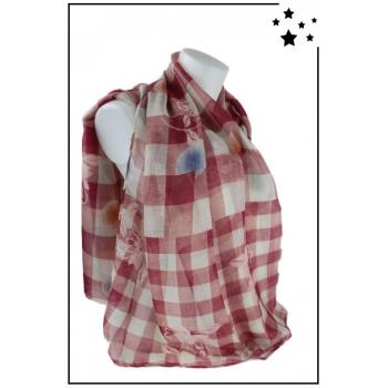 Foulard - Imprimé carreaux - Fleurs et ronds de couleur - Rose