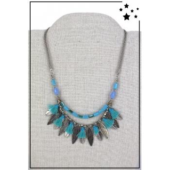 Collier style plastron - Plumes et pampilles - Bleu