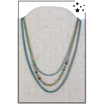 Collier multirang - 3 rangs - Bleu