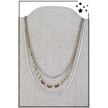 Collier multirang - 3 rangs - Blanc