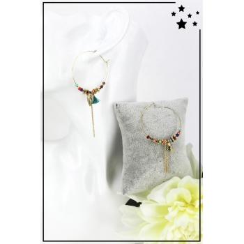 Boucles d'oreille - Breloque feuille - Perles et pampille - Doré