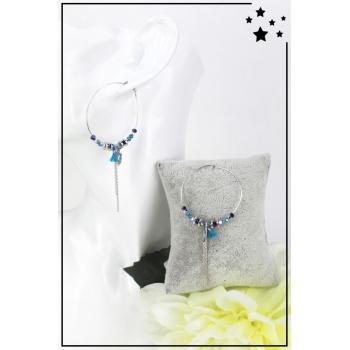 Boucles d'oreille - Breloque feuille - Perles et pampille - Bleu et argenté