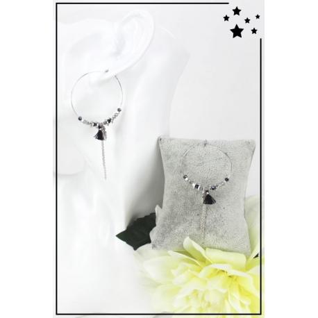 Boucles d'oreille - Breloque feuille - Perles et pampille - Noir et argenté