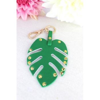 Porte-clé - Bijoux de sac - Feuille cloutée - Vert