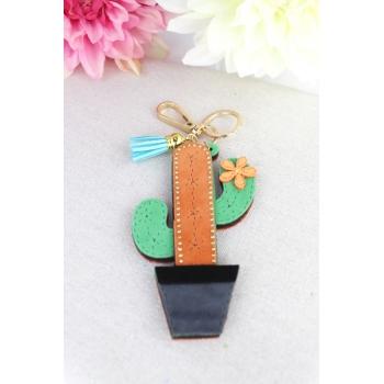 Porte-clé - Bijoux de sac - Cactus -  Pampille bleue - Vert / Camel
