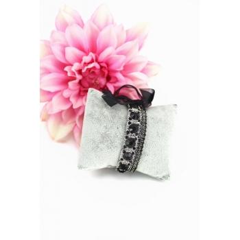 Bracelet strass élastique - 3 rangs et ruban - Noir