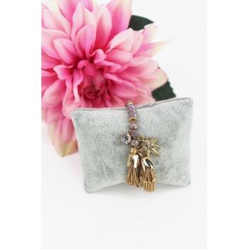 Bracelet perles et breloques - Feuille et strass - Doré