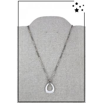 Collier - Forme ovale -Chaîne acier - Strass - Blanc
