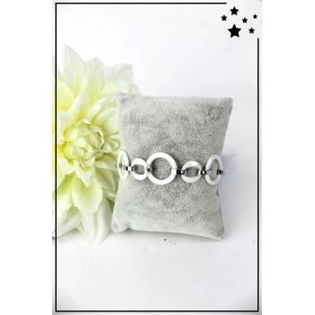 Bracelet - Petits et grands ronds - Céramique - Blanc