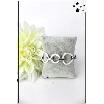 Bracelet - Petits ronds et grands ovales - Céramique - Blanc