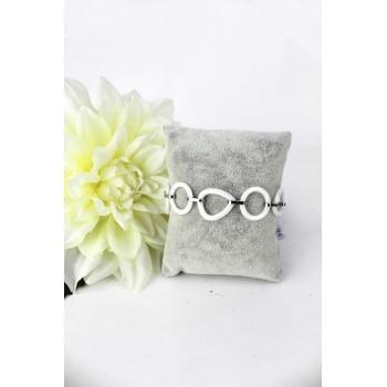 Bracelet - Petits ronds et petits ovales - Céramique - Blanc