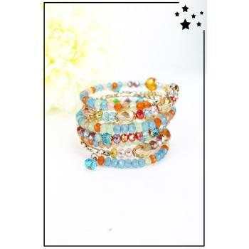 Bracelet manchettes perles - Multicolor