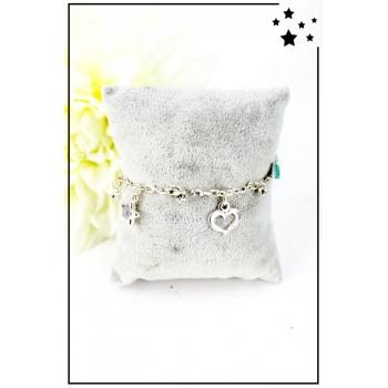 Bracelet charms - Cœurs et étoiles - Argenté
