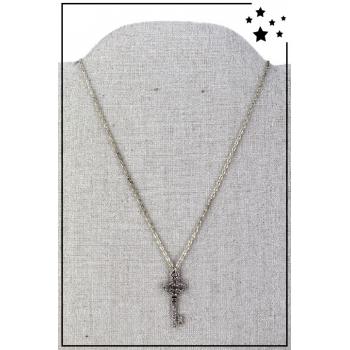 Collier pendentif - Clé strass - Argenté