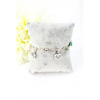 Bracelet charms - Coeurs et étoiles - Argenté