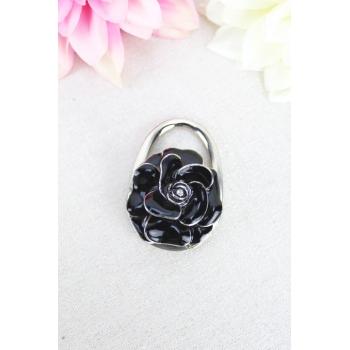 Accroche sac - Résine - Rose - Noir / Argenté