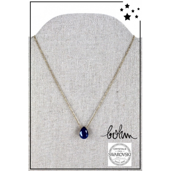 Collier Bohm - Cristal Swarovski - Doré - Bleu nuit