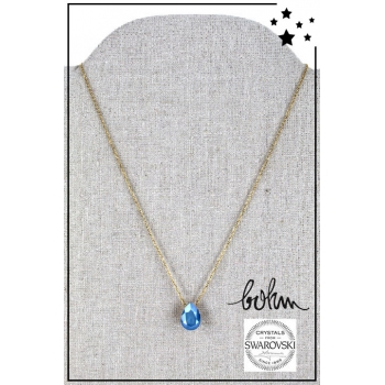 Collier Bohm - Cristal Swarovski - Doré - Bleu