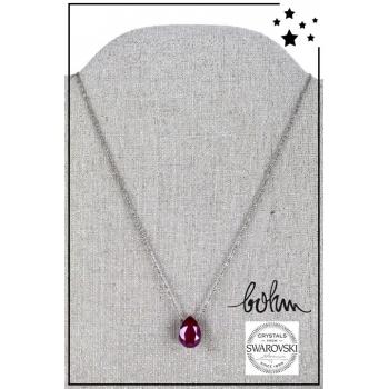 Collier Bohm - Cristal Swarovski - Argenté - Rouge