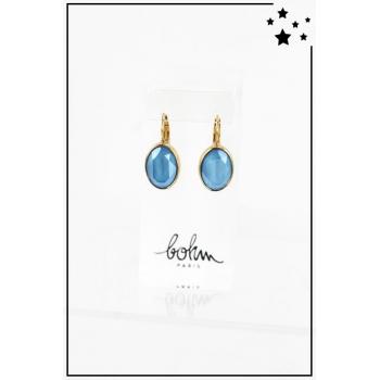 Boucle d'oreille Bohm - Cristal Swarovski - Ovale - Bleu - Doré
