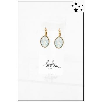 Boucle d'oreille Bohm - Cristal Swarovski - Ovale - Blanc et reflets - Doré