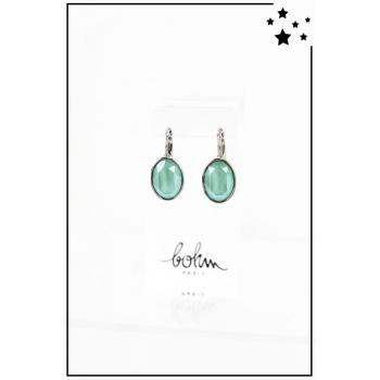 Boucle d'oreille Bohm - Cristal Swarovski - Ovale - Vert - Argenté