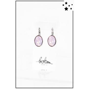 Boucle d'oreille Bohm - Cristal Swarovski - Ovale - Rose pâle - Argenté