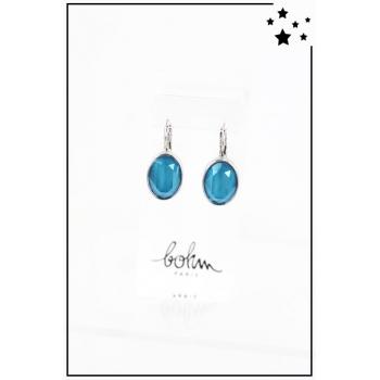 Boucle d'oreille Bohm - Cristal Swarovski - Ovale - Bleu - Argenté