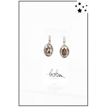 Boucle d'oreille Bohm - Cristal Swarovski - Ovale - Moucheté - Argenté