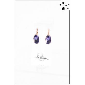 Boucle d'oreille Bohm - Cristal Swarovski - Asymétrique - Violet - Cuivré