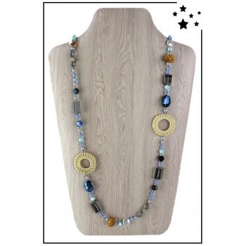 Collier sautoir - Perles et rafia - Bleu