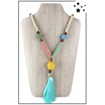 Collier sautoir - Perles bois et pampille - Turquoise