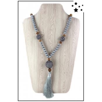 Collier sautoir - Perles bois et pompon - Argenté