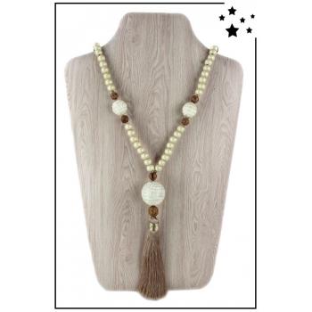 Collier sautoir - Perles bois et pompon - Beige