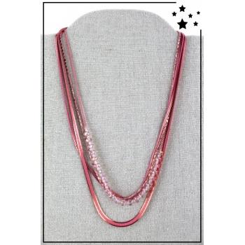 Collier multirangs - 4 rangs - Perles et chaînettes - Rose